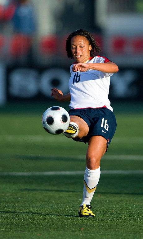 25 May 09:  USA National midfielder Angela Hucles #16 in action in an International Friendly soccer game between the US Women's Team and the Canadian Women's Team at BMO Field in Toronto.<br /> The US Women's Team won 4-0.<br /> Photo by Nick Turchiaro/isiphotos.com.