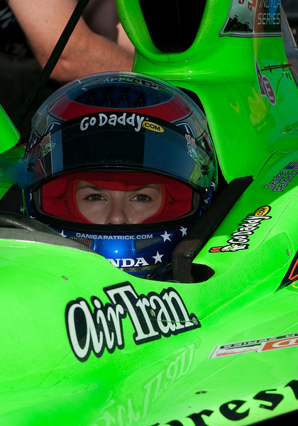 July 09 2011:  Indy Car driver Danica Patrick #7 of Andretti Autosport takes a break during the morning practice session of the 2011Honda Indy Car race at Exhibition Place in Toronto, Ontario Canada.