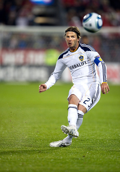 13 April 2011: Los Angeles Galaxy midfielder David Beckham #23 takes a free kick which hit the goal post during an MLS game between Los Angeles Galaxy and the Toronto FC at BMO Field in Toronto, Ontario Canada.<br /> The game ended in a 0-0 draw.