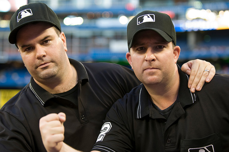 August 18 2009: Tim Williams & Joe Farrell show that they too can make the calls with the best of the MLB Umpires during a game between the Boston Red Sox and the Toronto Blue Jays at the Rogers Centre in Toronto, Ontario.