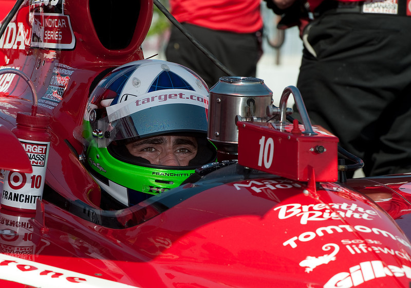 July 09 2011:  Indy Car driver Dario Franchitti #10 of Target Chip Ganassi Racing takes a break during the morning practice session of the 2011Honda Indy Car race at Exhibition Place in Toronto, Ontario Canada.