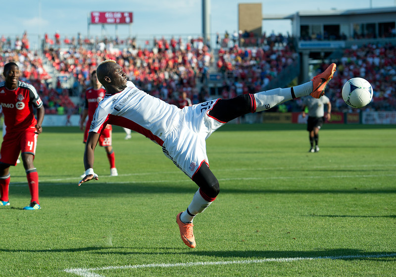 23 June 2011: New England Revolution forward Saer Sene #39 in action during an MLS game between the New England Revolution and the Toronto FC at BMO Field in Toronto.<br /> The game ended in a 2-2 draw.