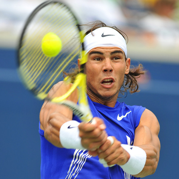 July 27 2008: Rafael Nadal hits a winner during the 2008 Rogers Cup at the Rexall Centre York University in Toronto, Ontario.