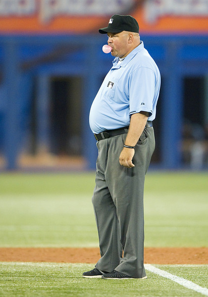 August 23 2011: Second base umpire Laz Diaz during a game between the Kansas City Royals and the Toronto Blue Jays at the Rogers Centre in Toronto, Ontario.<br /> The Kansas City Royals won 6-4.