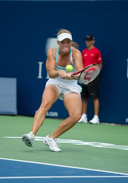 August 06 2011: Melanie Oudin of the USA in action against Bojana Jovanovski of Serbiain  during a qualifying 2011 Rogers Cup Tennis match at the Rexall Centre in Toronto, Ontario Canada.<br /> Bojana Jovanovski of Serbia won in straight sets 6-4,6-2.