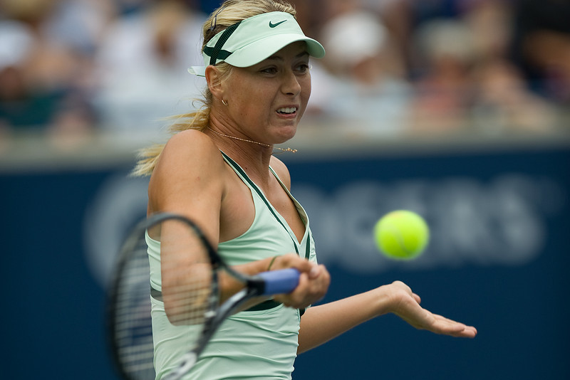 23 August 2009: Maria Sharapova (RUS) returns a ball during the 2009 Women's Rogers's Cup Final at the Rexall Centre in Toronto.<br /> Elena Dementieva won 6-4,6-3.<br /> *****FOR EDITORIAL USE ONLY*****