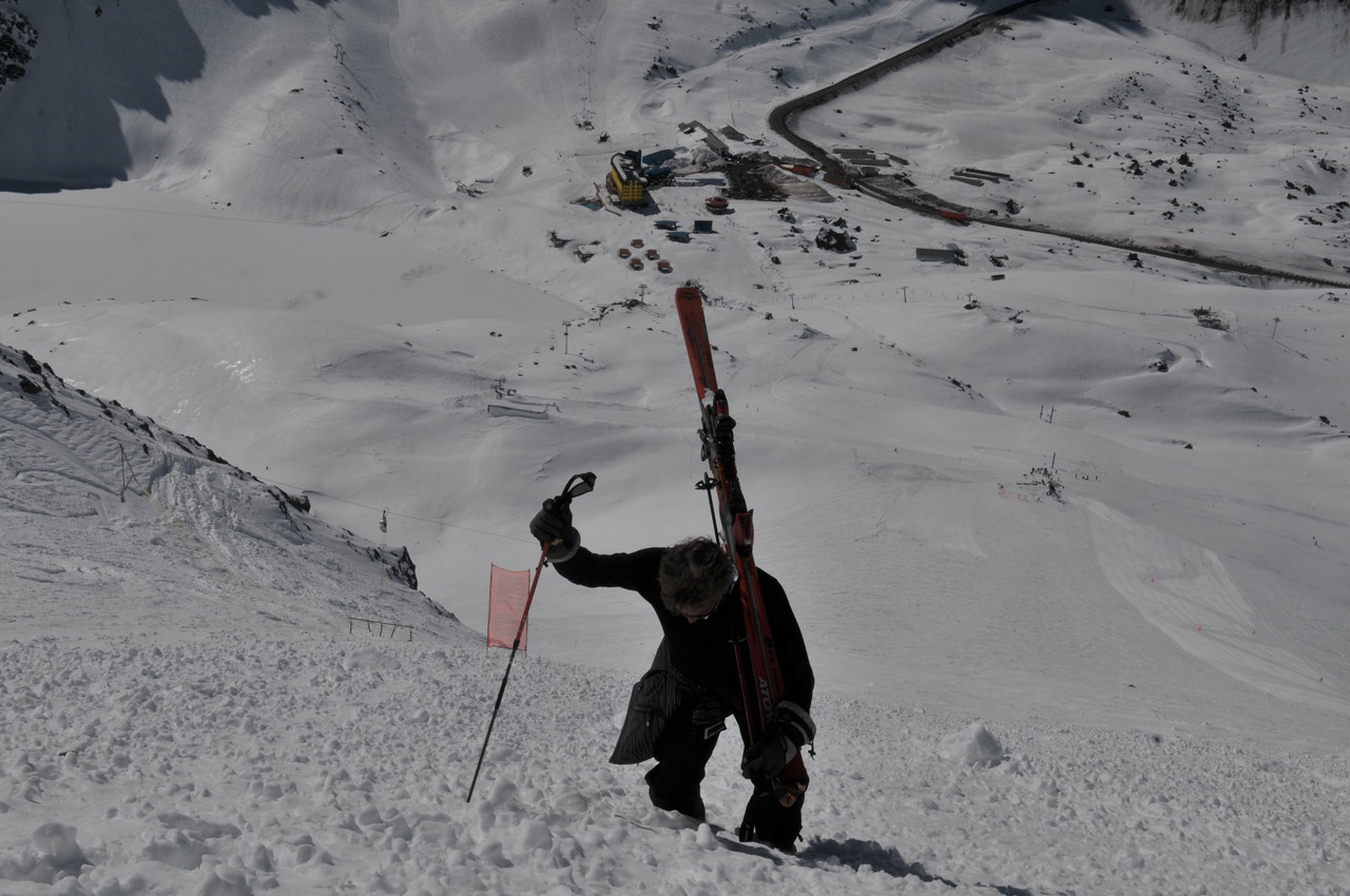 Randy slugging it up the slope (which is part of an Avalanche field)