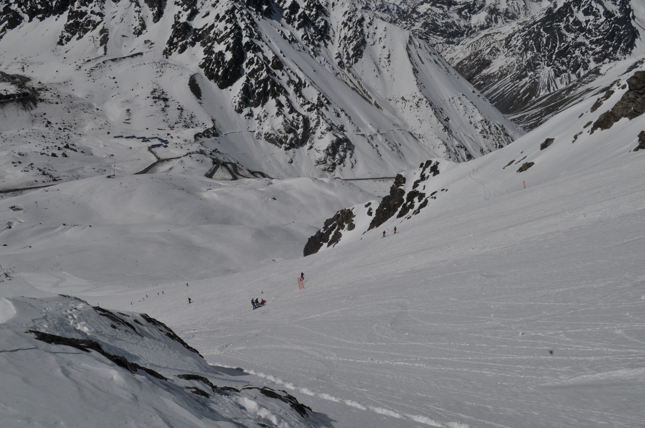Doesn't this look steep?  The Red banners mark the top of the Roca Lift.  This was taken from 3303 meters ASL after we had skied down some.