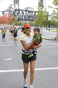 Abhi ran part of the last mile with Mommy!  Okay, he didn't run...I carried him for a little bit.