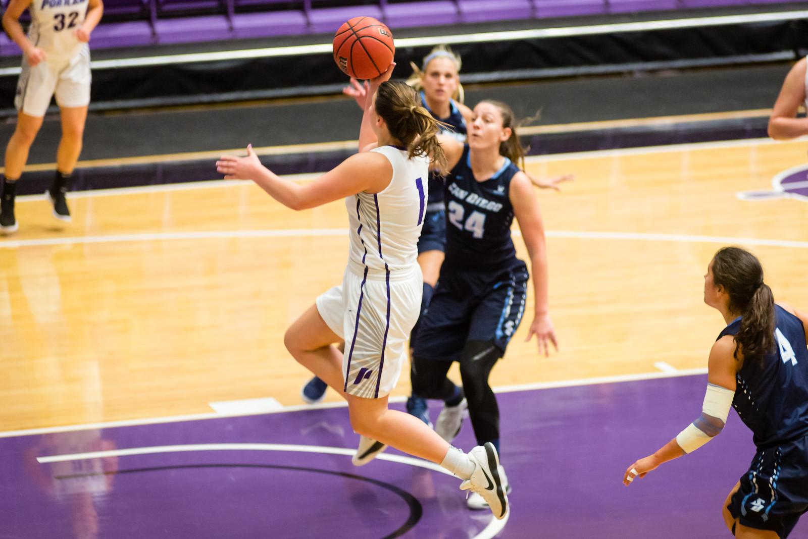 Kate Andersen drives to the hoop against San Diego.
