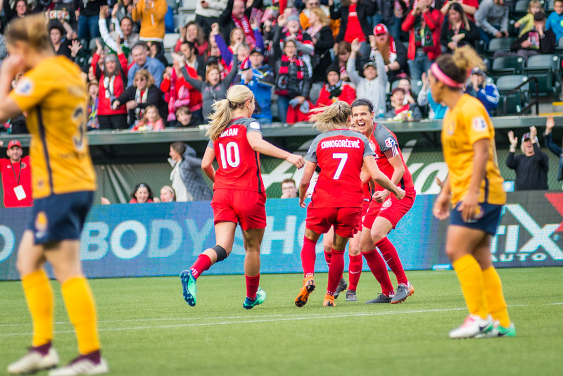 Christine Sinclair celebrates a goal against Utah Royals FC in Portland, OR on May 25, 2018.