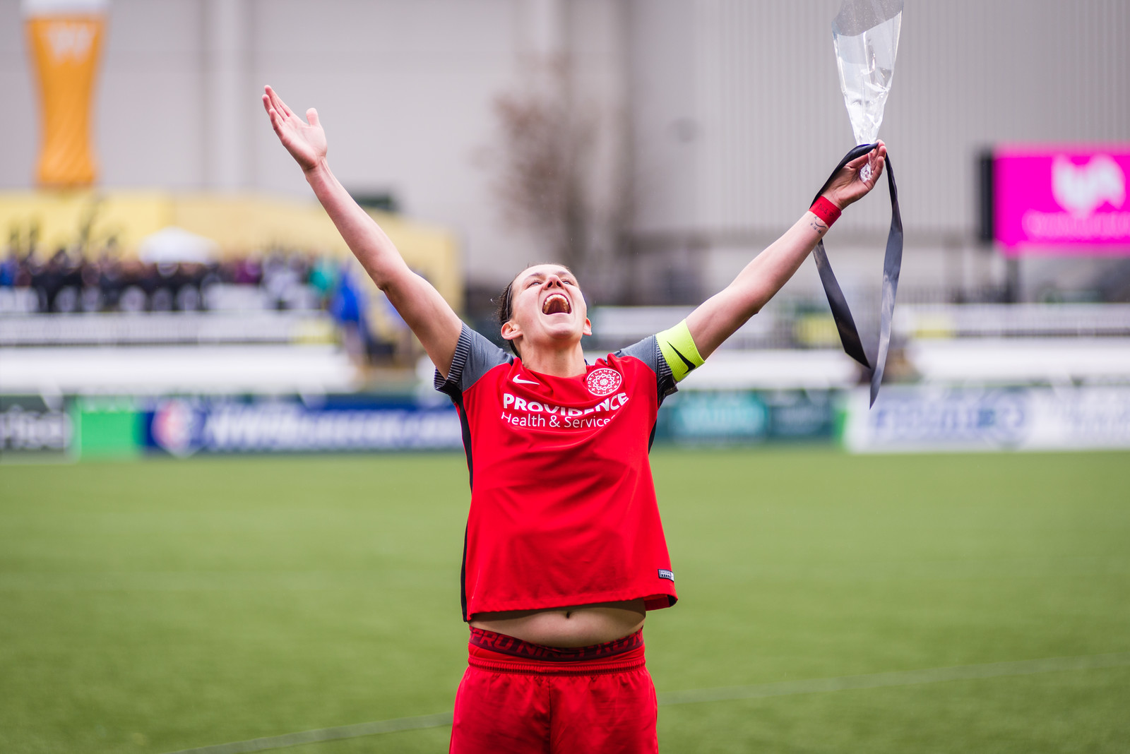 """Christine Sinclair sings along as the Rose City Riveters serenade her with """"Oh, Canada."""""""