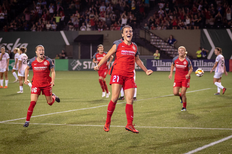 Hayley Raso celebrates what she thinks is a goal against the Houston Dash in Portland, OR  on July 16, 2018. Sshe was determined to be offside after the referee consulted with his assistant.