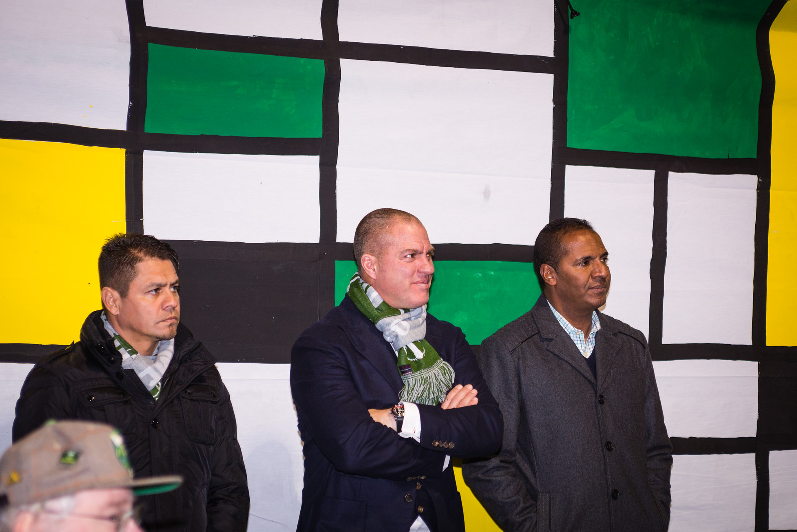 """Portland Timbers head coach Gio Savarese and two of his assistants, Carlos Llamosa, and Guillermo """"Memo"""" Valencia, meet members of the Timbers Army."""