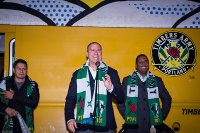 "Portland Timbers head coach Gio Savarese and two of his assistants, Carlos Llamosa, and Guillermo ""Memo"" Valencia, meet members of the Timbers Army."