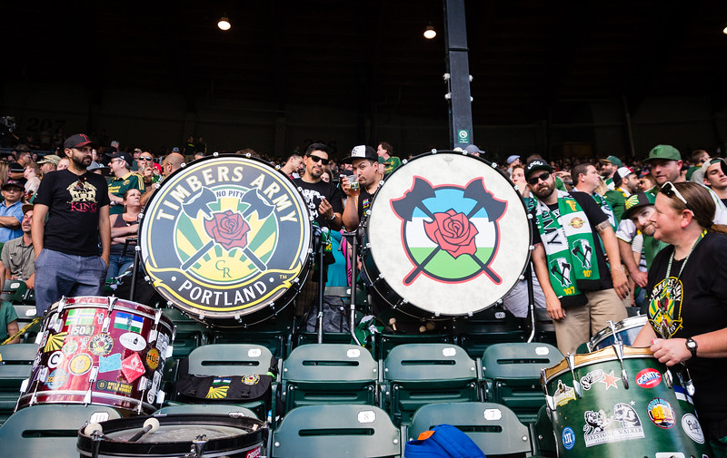 The Timbers Army Drums & Trumpets.