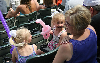 Jean Trout with her granddaughters during sunday's game against San diego.