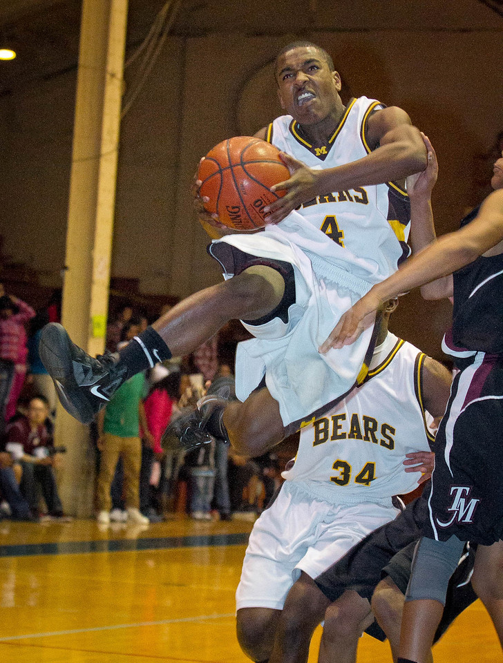 Antoine Porter of Mission High drives to the basket as Mission beats Marshall in the San Francisco Section Basketball Championship at Kezar Pavilion in San Francisco, Calif., on Friday, March 2, 2012.