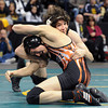 """Jace Lopez, top, of Roosevelt High School works against Ryan Daves of Montezuma Cortez.<br /> For more photos of the wrestling, go to  <a href=""""http://www.dailycamera.com"""">http://www.dailycamera.com</a>.<br /> Cliff Grassmick / February 23, 2013"""