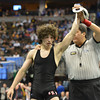 Roosevelt's Jace Lopez celebrates winning the 4A 138-pound match against Ryan Daves, Montezuma-Cortez during the state wrestling championships at the Pepsi Center in Denver on Saturday.<br /> February 23, 2013<br /> staff photo/ David R. Jennings