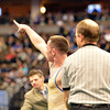 Roosevelt's Phil Downing points to his fans after defeating Tyler Oberg, Discovery Canyon in the 145-pound 4A class match during the state wrestling championships at the Pepsi Center in Denver on Saturday.<br /> February 23, 2013<br /> staff photo/ David R. Jennings