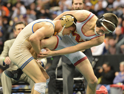 Broomfield's Drew Romero wrestles Windsor's Joel Salomon,  in the 113-pound championship match in class 4A during the state wrestling championships at the Pepsi Center in Denver on Saturday. February 23, 2013 staff photo/ David R. Jennings