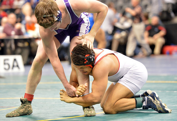 Loveland's Dalton Weis  wrestles Jack Lindsay, Douglas County,  in the 182-pound consolation round match in class 5A during the state wrestling championships at the Pepsi Center in Denver on Saturday.<br /> February 23, 2013<br /> staff photo/ David R. Jennings