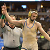 Broomfield's Zach Stodden has his hand raised after defeating  Chaz Poison, Valor Christian in the 170-pound 4A class match during the state wrestling championships at the Pepsi Center in Denver on Saturday.<br /> February 23, 2013<br /> staff photo/ David R. Jennings