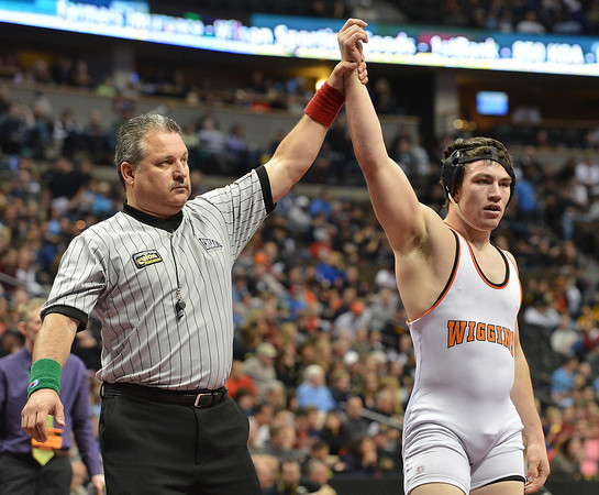 Wiggin's Garret Walker defeated Mitch VanDuran, Segwick County- Fleming to win the 182-pound 2A class match during the state wrestling championships at the Pepsi Center in Denver on Saturday.<br /> February 23, 2013<br /> staff photo/ David R. Jennings