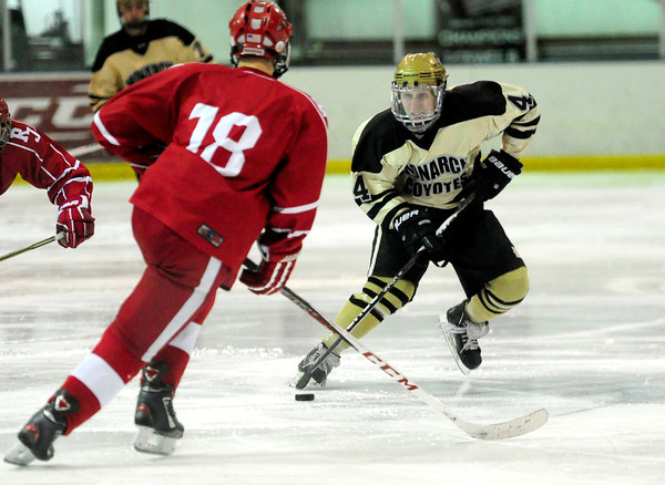 Monarch's Jake Orsborn (right) keeps the puck from Regis' Logan Baca (right) during their hockey game in Superion, Colorado February 11, 2013. BOULDER DAILY CAMERA/ Mark Leffingwell