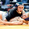 Dillon Bellino (top), Florence, watches the ref as he pins Lane Nelson (bottom), CR, during their 113lb 3A Colorado Wrestling State Championship preliminary match in Denver, Colorado February 21, 2013. BOULDER DAILY CAMERA/ Mark Leffingwell