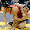 "Broomfield High School's Phil Downing wrestles Pueblo Centennial High School's Nick Rocha during the Class 4A match during the Colorado State Wrestling Championship prelims on Thursday, Feb. 21, at the Pepsi Center in Denver. Downing won the match. For more photos of the tournament go to  <a href=""http://www.dailycamera.com"">http://www.dailycamera.com</a><br /> Jeremy Papasso/ Camera"
