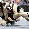 Joel Lambert (right), Niwot, wrestles Tristen Wolf (left), Conifer, during their 132 4A Colorado Wrestling State Championship preliminary match in Denver, Colorado February 21, 2013. BOULDER DAILY CAMERA/ Mark Leffingwell