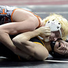 "Wiggins High School's Tryston Keefe works to pin Meeker's Anthony Watt during the Class 2A match during the Colorado State Wrestling Championship prelims on Thursday, Feb. 21, at the Pepsi Center in Denver. For more photos of the tournament go to  <a href=""http://www.dailycamera.com"">http://www.dailycamera.com</a><br /> Jeremy Papasso/ Camera"