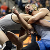 "Broomfield High School's Jared Albo tries to avoid a takedown by Durango High School's Nick Tarpley during the Class 4A 152-pound match during the Colorado State Wrestling Championship prelims on Thursday, Feb. 21, at the Pepsi Center in Denver. Albo lost the match. For more photos of the tournament go to  <a href=""http://www.dailycamera.com"">http://www.dailycamera.com</a><br /> Jeremy Papasso/ Camera"