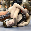 Sage Budd (top), Mead, scores a near fall on Davis Baxter (bottom), Pueblo South, during their 113lb 4A Colorado Wrestling State Championship preliminary match in Denver, Colorado February 21, 2013. BOULDER DAILY CAMERA/ Mark Leffingwell