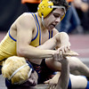 Jesse Ortiz (top), Fredrick, wrestles Caleb McElfresh (bottom), Mitchell, during their 113lb 4A Colorado Wrestling State Championship preliminary match in Denver, Colorado February 21, 2013. BOULDER DAILY CAMERA/ Mark Leffingwell