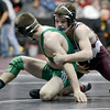 "Berthoud High School's Jimmy Fate wrestles Delta High School's Shane Anderson during the Class 4A 126-pound match during the Colorado State Wrestling Championship prelims on Thursday, Feb. 21, at the Pepsi Center in Denver. For more photos of the tournament go to  <a href=""http://www.dailycamera.com"">http://www.dailycamera.com</a><br /> Jeremy Papasso/ Camera"