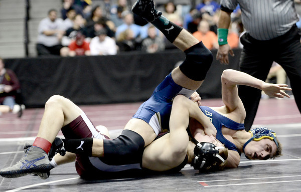 Ian Wingstrom (bottom), Fort Morgan, rolls Isaac Rider (top), Rifle, during their 126lb 4A Colorado Wrestling State Championship preliminary match in Denver, Colorado February 21, 2013. BOULDER DAILY CAMERA/ Mark Leffingwell