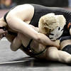 Brandon Wetsch (right), Erie, nearly pins Michael Brierton (left), Palmer Ridge, during their 132 4A Colorado Wrestling State Championship match in Denver, Colorado February 21, 2013. BOULDER DAILY CAMERA/ Mark Leffingwell