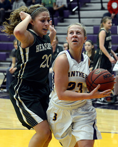 Boulder High School's Lena Jaycox drives to the hoop past Ariana Green during a game against Bear Creek High School on Tuesday, Feb. 26, in Boulder. For more photos of the game go to www.dailycamera.com Jeremy Papasso/ Camera