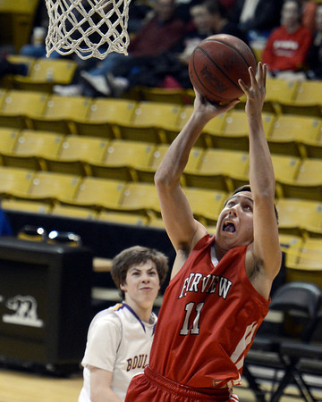 "Fairview High School's Cubby Lane takes a shot during a game against Boulder High School on Friday, Feb. 15, at the Coors Event Center on the University of Colorado campus in Boulder. For more photos of the game go to  <a href=""http://www.dailycamera.com"">http://www.dailycamera.com</a><br /> Jeremy Papasso/ Camera"