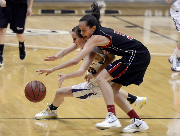 "Boulder High School's Jacque Szarmach fights for a loose ball with Annika Lai during a game against Fairview High School on Friday, Feb. 15, at the Coors Event Center on the University of Colorado campus in Boulder. For more photos of the game go to  <a href=""http://www.dailycamera.com"">http://www.dailycamera.com</a><br /> Jeremy Papasso/ Camera"