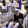 "Boulder High School' Head Coach Ron Burgin talks with his team in a time-out during a game against Fairview High School on Friday, Feb. 15, at the Coors Event Center on the University of Colorado campus in Boulder. For more photos of the game go to  <a href=""http://www.dailycamera.com"">http://www.dailycamera.com</a><br /> Jeremy Papasso/ Camera"