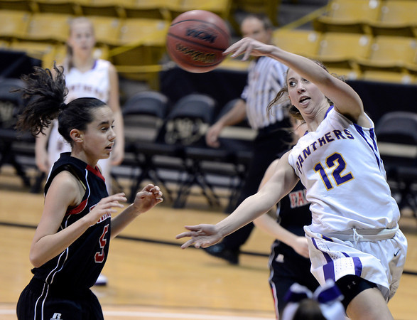 "Boulder High School's Courtney Van Bussum saves a ball from going out of bounds during a game against Fairview High School on Friday, Feb. 15, at the Coors Event Center on the University of Colorado campus in Boulder. For more photos of the game go to  <a href=""http://www.dailycamera.com"">http://www.dailycamera.com</a><br /> Jeremy Papasso/ Camera"