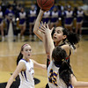 "Fairview High School's Annika Lai takes a shot over Jacque Szarmach during a game against Boulder High School on Friday, Feb. 15, at the Coors Event Center on the University of Colorado campus in Boulder. For more photos of the game go to  <a href=""http://www.dailycamera.com"">http://www.dailycamera.com</a><br /> Jeremy Papasso/ Camera"