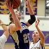 "Boulder High School's Courtney Van Bussum, at right, watches as Nicole Lange goes for a layup during a game against Fort Collins High School on Tuesday, Jan. 29, in Boulder. For more photos of the game go to  <a href=""http://www.dailycamera.com"">http://www.dailycamera.com</a><br /> Jeremy Papasso/ Camera"