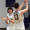 "Boulder High School's Ian Kelly, No. 5, and Johan Charnick, No. 13, celebrate after winning a basketball game against George Washington High School on Wednesday, Feb. 27, in Boulder. For more photos of the game go to  <a href=""http://www.dailycamera.com"">http://www.dailycamera.com</a><br /> Jeremy Papasso/ Camera"