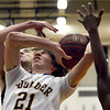 "Boulder High School's Kevin VanLieshout gets fouled by McCay Gordon during a game against George Washington High School on Wednesday, Feb. 27, in Boulder. For more photos of the game go to  <a href=""http://www.dailycamera.com"">http://www.dailycamera.com</a><br /> Jeremy Papasso/ Camera"