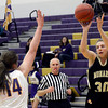 "Monarch High School's Francesca Cendali shoots a three-pointer over April Dawson during a game against Boulder High School on Tuesday, Feb. 12, at Boulder High School. For more photos of the game go to  <a href=""http://www.dailycamera.com"">http://www.dailycamera.com</a><br /> Jeremy Papasso/ Camera"